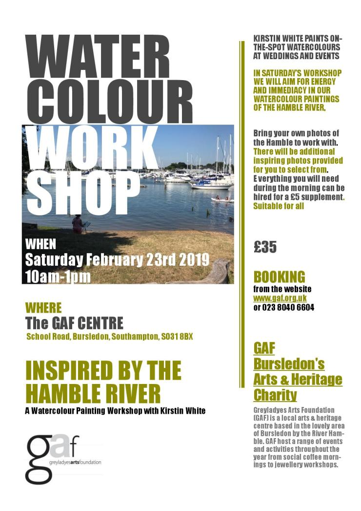 Poster Saturday February 23rd 2019 Watercolour Workshop at GAF .A4-page-001