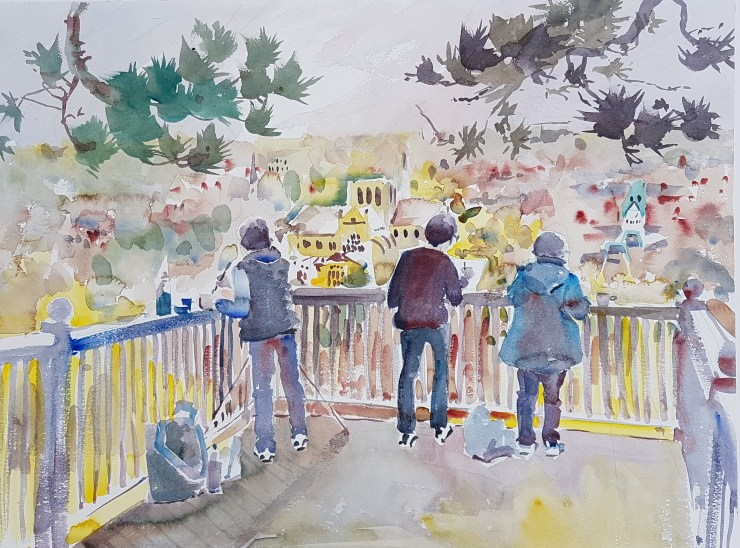Watercolour painting outdoors