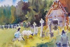 Dummer Art Group painting  watercolours at Preston Candover (watercolour)