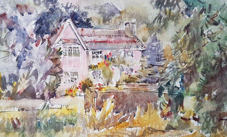 Summer rain on the pink cottage in Cheriton. (watercolour)