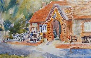June Cafe in Cheriton Watercolour
