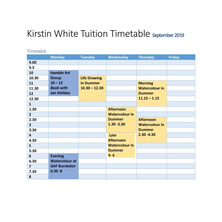 Tuition with Kirstin White, at a glance