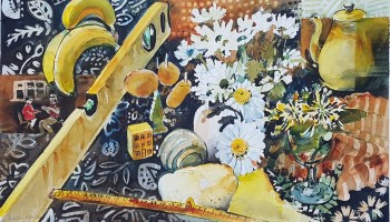 watercolour painting of daisies, bananas, 2M rule, sponge,