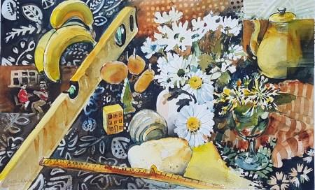 watercolour painting of daisies, bananas, 2M rule, sponge,