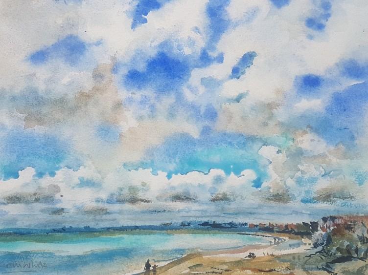 a beach scene in watercolour