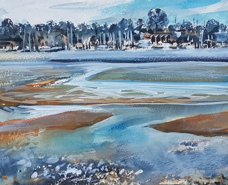 Original painting depicting the River Hamble at low tide