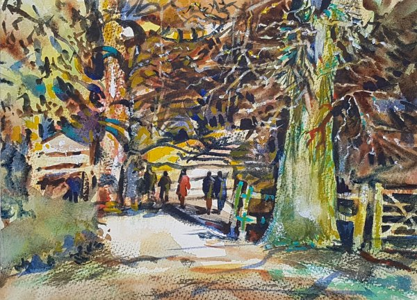 watercolour of woods