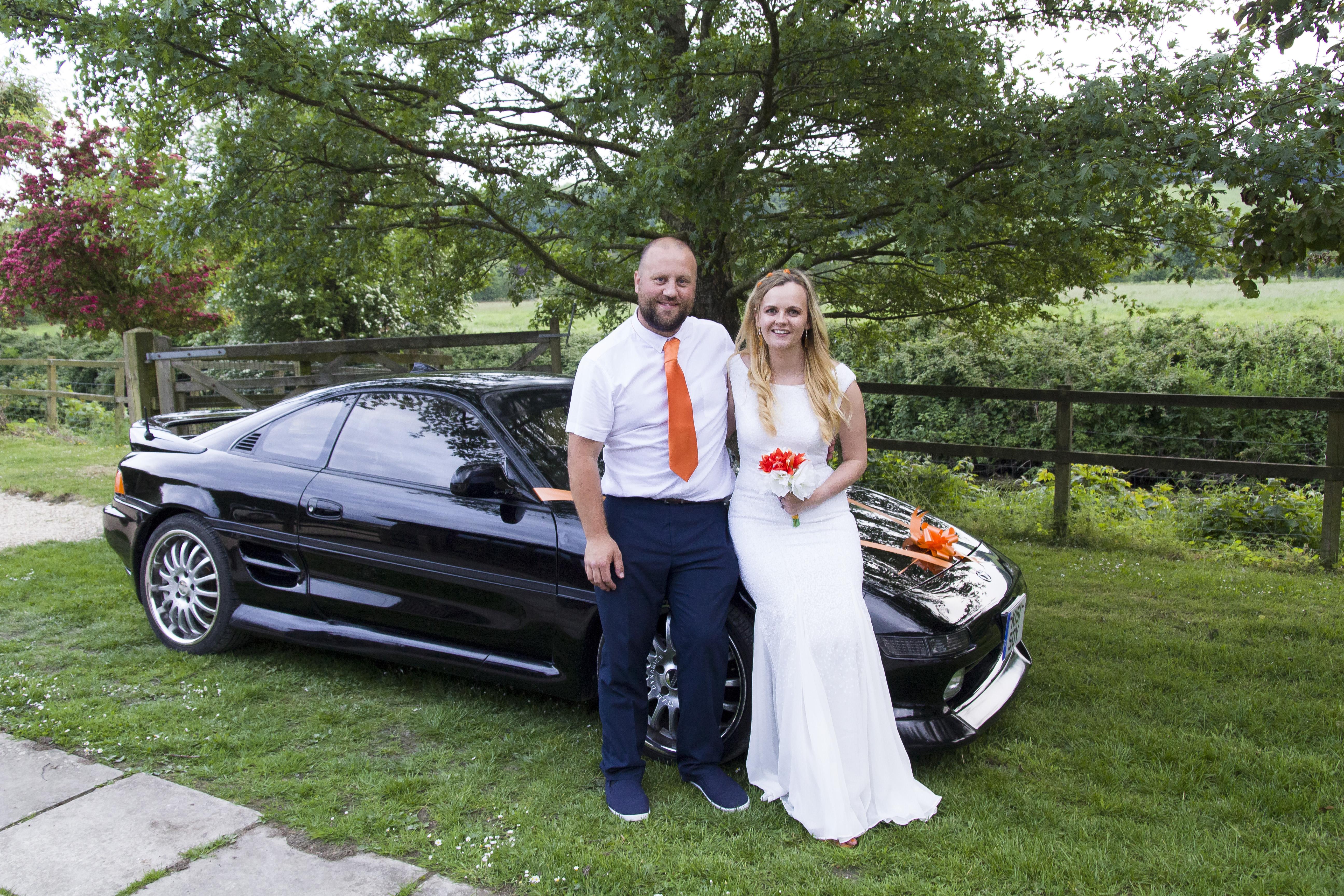 wedding day wedding car mr2