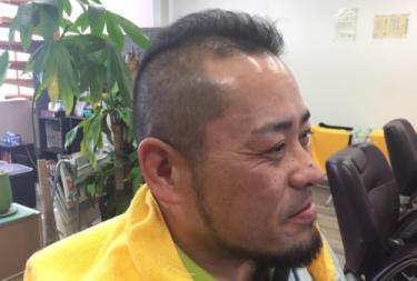ソフトモヒカン 3mmバリカン使用40代男性のワイルドショートヘア―