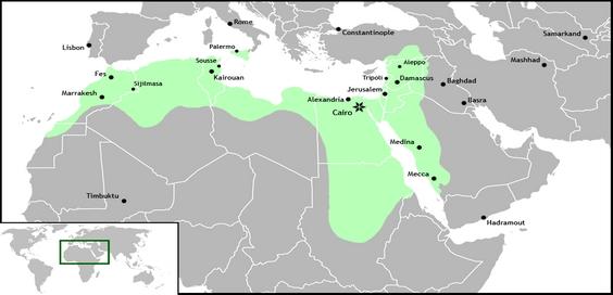 Wilayah kekuasan Daulah Fatimiyah di masa keemasannya
