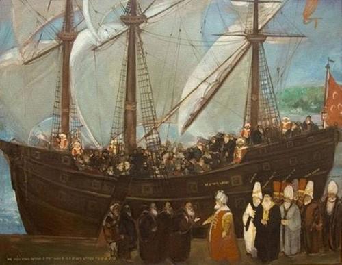 Gambran penyambutan pengungsi Yahudi oleh Sultan Utsmani