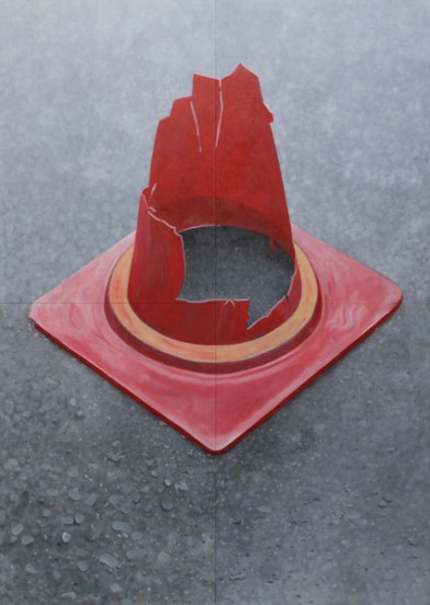 Cone. Oil on 4 joined wood panels. 206 x 145 x 3 cm. Private collection.