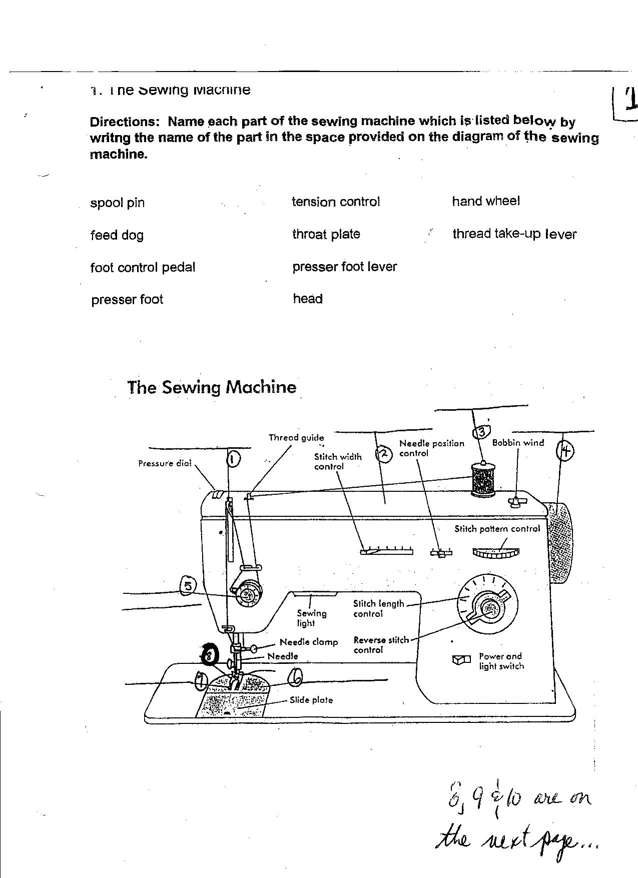 sewing machine parts diagram worksheet cilia animal cell bernina get free image about