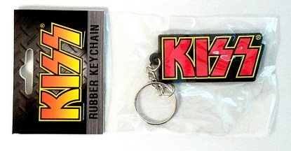 KISS Logo Rubber Keychain in Package