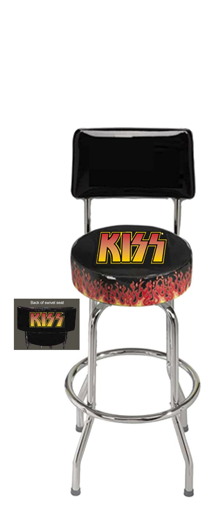 KISS Regal flame logo bar stool with back