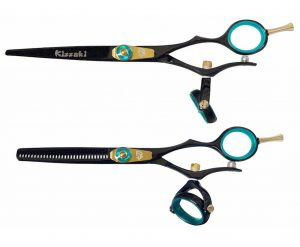 Gokatana 6.0″ & Kanagawa 30t Hair Scissors Double Swivel Black B Titanium Combo