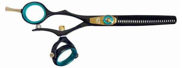 Kanagawa L 30t Left Handed Thinning Shears Double Swivel Black B Titanium