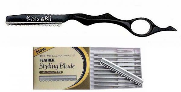 Onyx Black Hair Razor and Box of Feather Blades