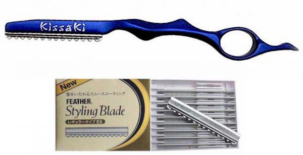 Sapphire Blue Hair Razor and Box of Feather Blades