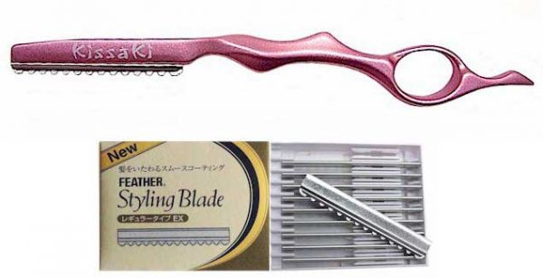 Hot Pink Hair Razor and Box of Feather Blades
