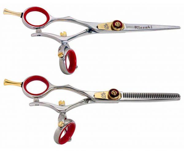 Gokatana L 5.5″ R Left Handed Hair Shears Double Swivel & Kanagawa L 30 tooth R Set