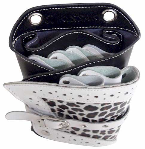 Snow Leopard Genuine Leather Hair Scissors Holster Pouch