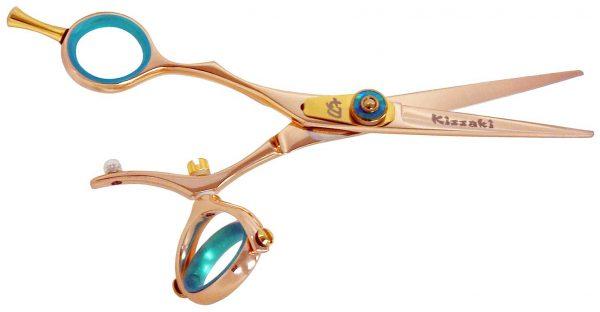 Gokatana L 5.5″ Left Handed Hair Shears Double Swivel Rose Gold B Titanium