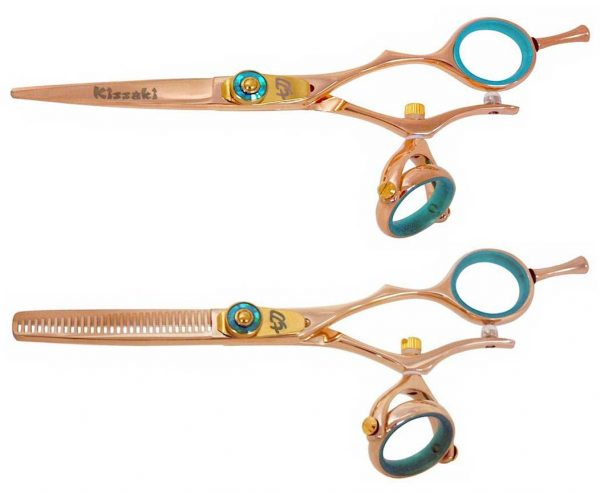 Gokatana 5.5″ & Kanagawa 30t Hair Scissors Double Swivel Rose Gold B Titanium Set