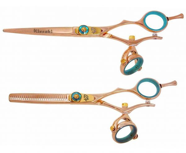Gokatana 6.0″ & Kanagawa 30t Hair Scissors Double Swivel Rose Gold B Titanium Set