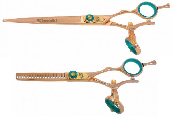 Gokatana 7.0″ & Kanagawa 30t Hair Scissors Double Swivel Rose Gold B Titanium Set