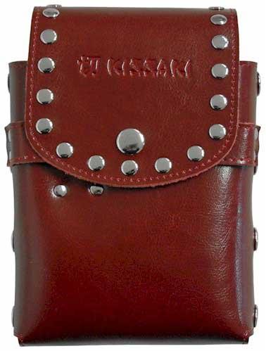 Dark Maroon Genuine Leather Hair Scissors Holster Pouch