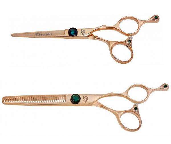Tsuchi 5.5″ & To-Ken 28t Hair Scissors Rose Gold Titanium Shears Combo