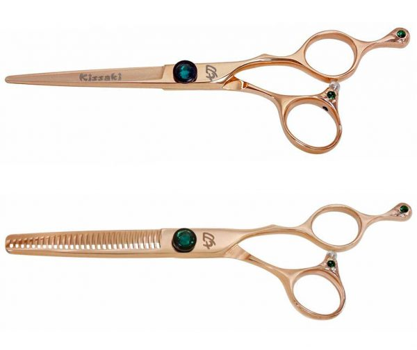 Tsuchi 6.0″ & To-Ken 28t Hair Scissors Rose Gold Titanium Shears Combo