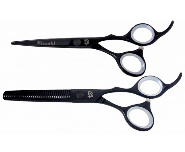 Futasuji Black Satin 5.5″ Hair Scissors & Ishizuki 32t Thinning Shears Combo