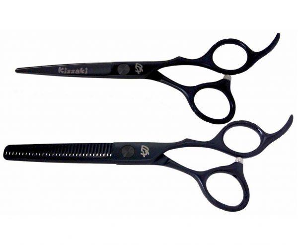 Futasuji Black Satin 5.5″ Hair Scissors & Ishizuki 32t Thinning Shears Combo