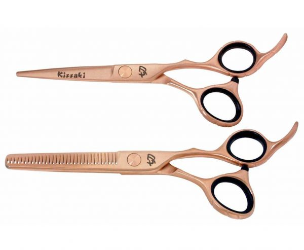 Futasuji Rose Gold Satin 5.5″ Hair Scissors & Ishizuki 32t Thinning Shears Combo