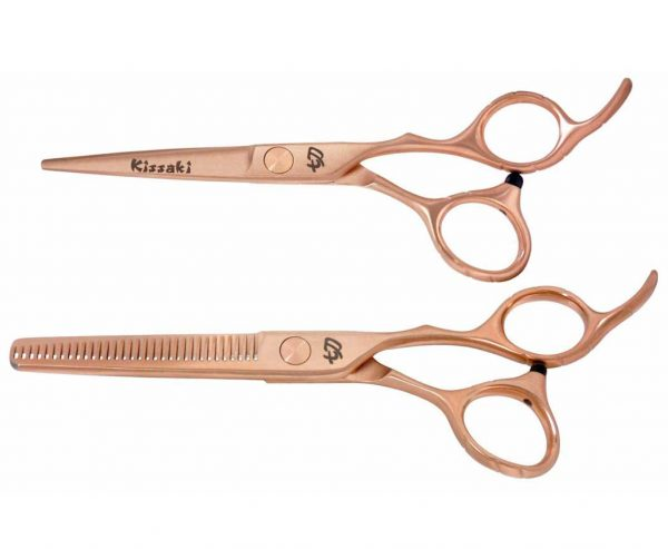 Futasuji Rose Gold Satin 5.5″ Hair Scissors & Ishizuki 32t Thinning Shears Combo