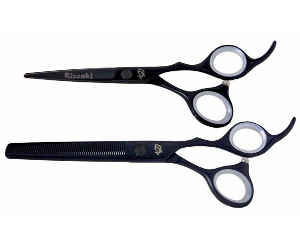 Futasuji Black Satin 5.5″ Hair Scissors & Ishizuki 60t Blending Shears Combo