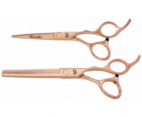 Futasuji Rose Gold Satin 5.5″ Hair Scissors & Ishizuki 60t Blending Shears Combo