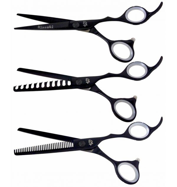 Futasuji Black Satin 6.0″ Ishizuki 11 tooth and 32 tooth 3 Hair Shears Combo