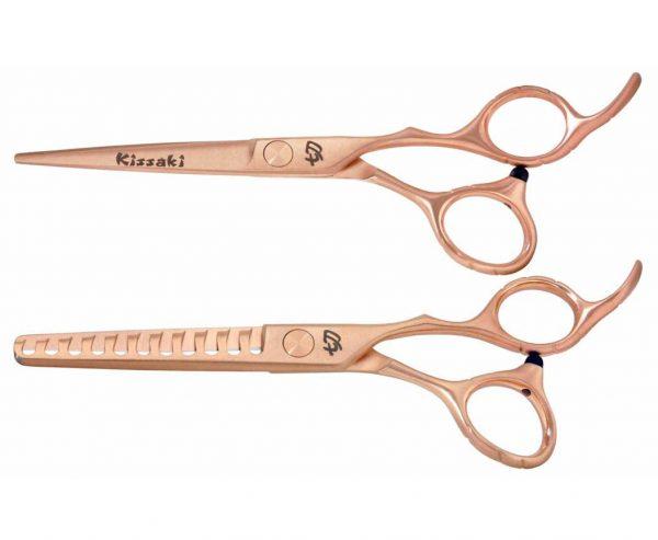 Futasuji Rose Gold Satin 6.0″ Hair Scissors & Ishizuki 11t Thinning Shears Combo