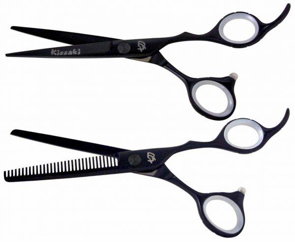 Futasuji Black Satin 6.0″ Hair Scissors & Ishizuki 32t Thinning Shears Combo
