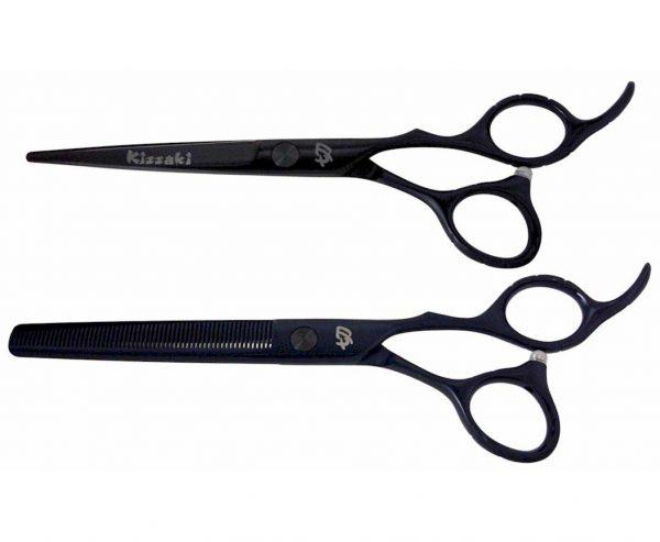 Futasuji Black Satin 6.0″ Hair Scissors & Ishizuki 60t Blending Shears Combo