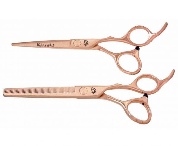 Futasuji Rose Gold Satin 6.0″ Hair Scissors & Ishizuki 60t Blending Shears Combo