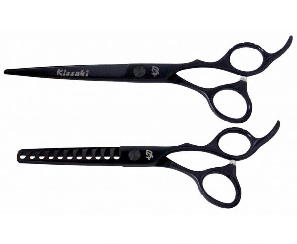 Futasuji Black Satin 7.0″ Hair Scissors & Ishizuki 11t Thinning Shears Combo