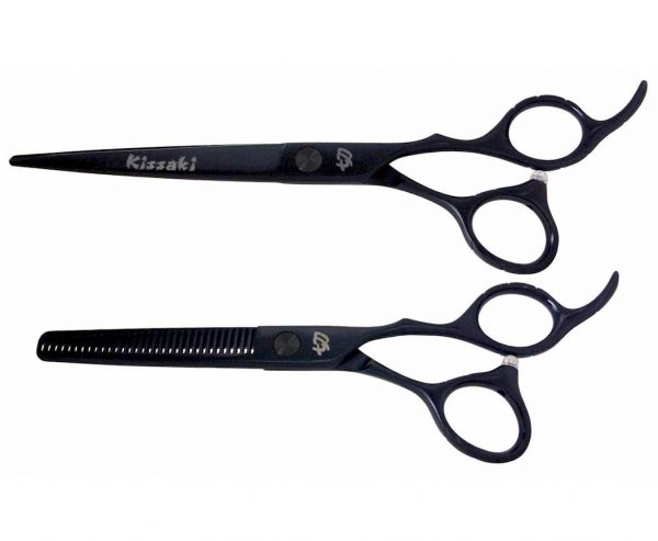 Futasuji Black Satin 7.0″ Hair Scissors & Ishizuki 32t Thinning Shears Combo