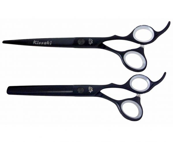 Futasuji Black Satin 7.0″ Hair Scissors & Ishizuki 60t Blending Shears Combo
