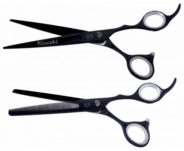 Futasuji Black Satin 7.0″ Hair Scissors & Ishizuki 60t Blending Shears Combo