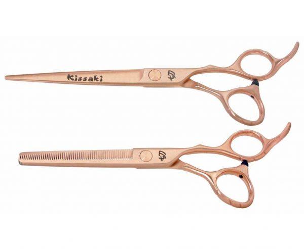 Futasuji Rose Gold Satin 7.0″ Hair Scissors & Ishizuki 60t Blending Shears Combo