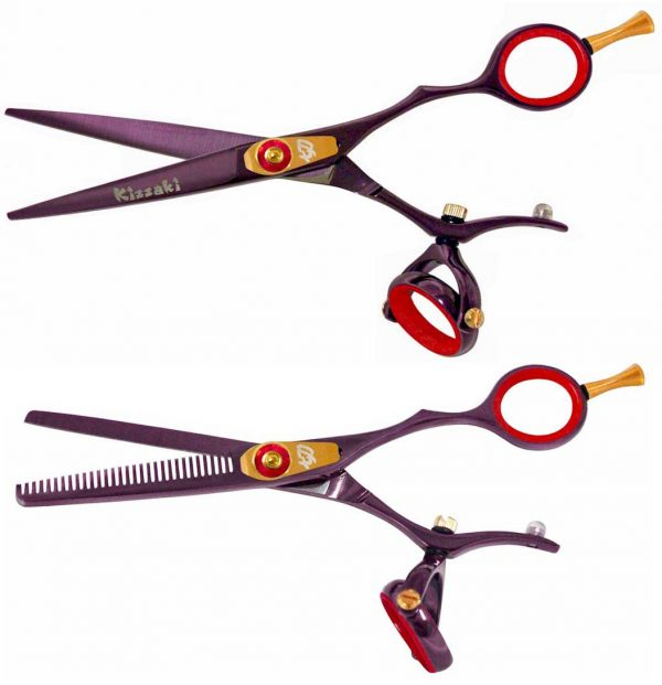 Gokatana 5.5″ & Kanagawa 30t Hair Scissors Double Swivel Black Cherry R Titanium Set
